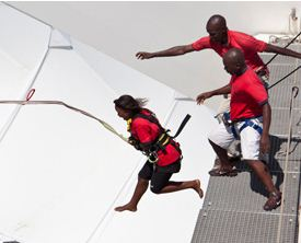 Moses Mabhida Stadium:Take the plunge and try the Big Rush Big Swing - the world's only stadium swing and the largest swing of any kind anywhere as confirmed by the Guinness Book of Records