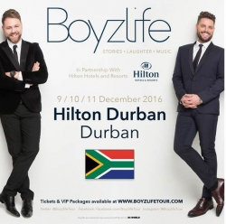 Hilton Durban Announces Boyzlife Tour - Brian McFadden and Keith Duffy take Boyzlife tour to the worldwide stage