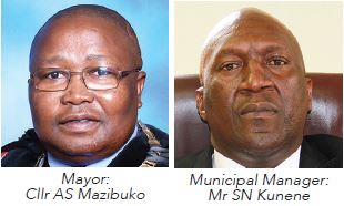 uThukela District Municipality Mayor : Cllr AS Mazibuko and Municipal Manager : Mr SN Kunene