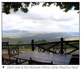 Deck view at the Hluhluwe Hilltop Camp, KwaZulu-Natal