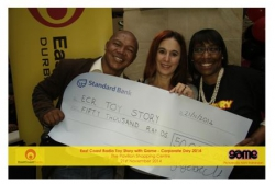 Spring Lights Gas - ECR Toy Story Campaign:Mzi Tyhokolo and Olivia Almanza from Spring Lights Gas pictured with Ms Dawn Dunn