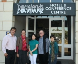 Celebrating the launch of the New Paradigms Conference in Durban in October 2012 are (from left to right): Kevin Bingham (KZNIA Education Chair), Nina Sanders (KZNIA President), Tammy Grove (SAFAL Steel), Rodney Harber (UIA Education Committee) and Georgi