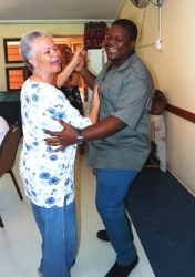 "Tafta - Durban celebrities embrace Tafta's ""Hug Therapy"" campaign:Marjorie Roux and Gagasi FM DJ Mzokoloko Gumede enjoyed their afternoon of music with a dance"