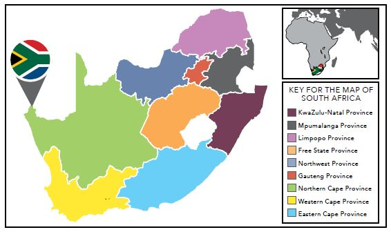 KEY FOR THE MAP OF SOUTH AFRICA