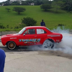Ugu South Coast Tourism-Track bite, torque and record times at the Dezzi South Coast Raceway:Karthy Naidoo, turbocharged Ford MK1 Escort