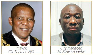 Msunduzi Municipality Mayor: Cllr Themba Njilo and City Manager: Mr Sizwe Hadebe