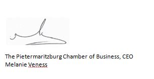The Pietermaritzburg Chamber of Business, CEO Melanie Veness Signature
