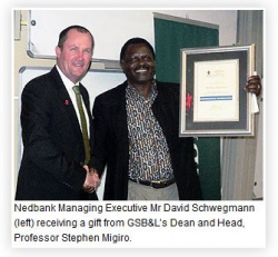 UKZN Graduate School of Business & Leadership-Guest Lecture Details Nedbank's Performance Management Strategy