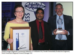 KZN Top Business Awards - Partnership Award:Natalie Keegan (Regional Community Relations Co-ordinator SA), Veeash Oomardath (Production Engineer), Neels Oosterhuis (Regional General Manager SA)