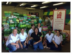 Tyson team with 430 boxes pledged and packed for the national Santa Shoebox project. LR are Melissa Campher, Sheena Soonallal, Louise Briggs, Theshini Malek, Claudine Double, Nonhlanhla Gumede and Michelle Holdsworth.  Back are Heather and Barbara