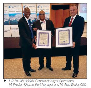 L-R: Mr Jabu Mdaki, General Manager Operations, Mr Preston Khomo, Port Manager and Mr Alan Waller, CEO