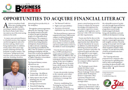 Sazi Gcume - Opportunities To Acquire Financial Literacy