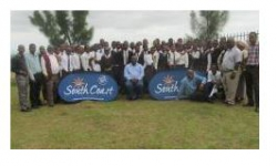 Ugu South Coast Tourism - Tourism Awareness Campaign launches successfully:Tourism Awareness campaign kwaNdelu Inkosi S. Shinga (seated), Learners from Mabuthela High School and community members