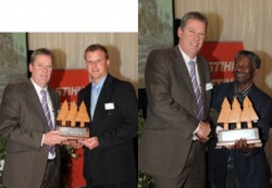 NCT Forestry:Hagen Gevers & NJ Madonsela receive their awards from NCT Chairman, Harald Niebuhr