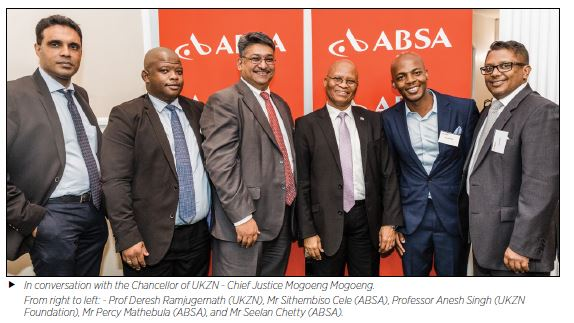 In conversation with the Chancellor of UKZN - Chief Justice Mogoeng Mogoeng. From right to left: - Prof Deresh Ramjugernath (UKZN), Mr Sithembiso Cele (ABSA), Professor Anesh Singh (UKZN Foundation), Mr Percy Mathebula (ABSA), and Mr Seelan Chetty (ABSA).