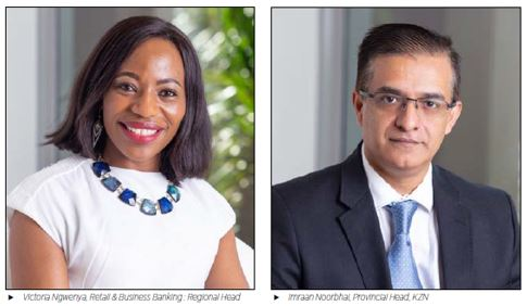 Victoria Ngwenya, Retail & Business Banking : Regional Head and Imraan Noorbhai, Provincial Head, KZN
