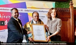 Vivian Reddy gets Lifetime achievement award in London