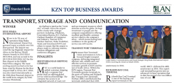 Standard Bank : Transport, Storage And Communication : Winner - King Shaka international Airport