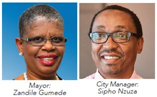 eThekwini Municipality Mayor: Cllr Zandile Gumede and City Manager : Sipho Nzuza